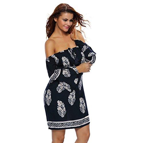 Europe et les États-Unis Mini robe de mode sans bretelles de plomb de la robe d'impression Bell manches deep blue