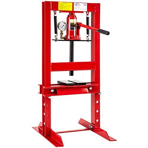 TecTake Presse d'atelier pompe hydraulique 6 tonnes forces | poids: 36kg | manomètre intégré