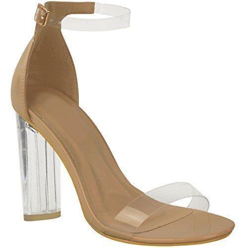 Sandales à bouts ouverts - talon haut transparent/bride cheville - femme Marron verni/plexiglas transparent