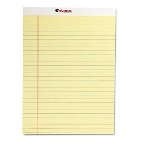 Universal Products - Universal - Perforated Edge Writing Pad, Legal/Margin Rule, Letter, Canary, 50-Sheet, Dozen - Sold As 1 Dozen - Excellent quality 16-lb. free-sheet is perforated for easy removal. - Red margin at left. - Chipboard backing. by Universal®