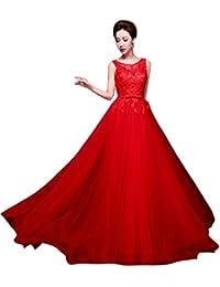Beauty-Emily Abendkleider Für Damen Hochzeits Spitze Tüll Lang Elegant 563da13710