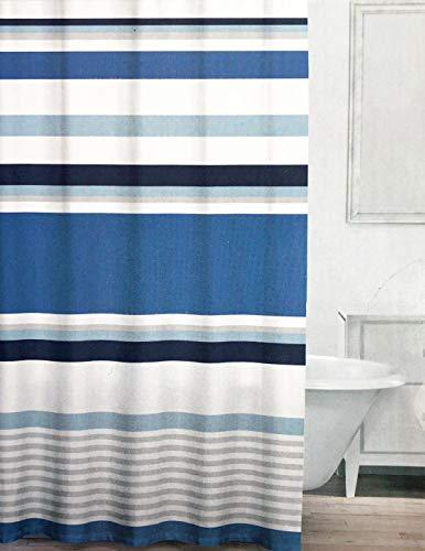 Caro Textil-Duschvorhang, Querstreifen, Blau und Grau auf Weiß, Chelsea, Denim -