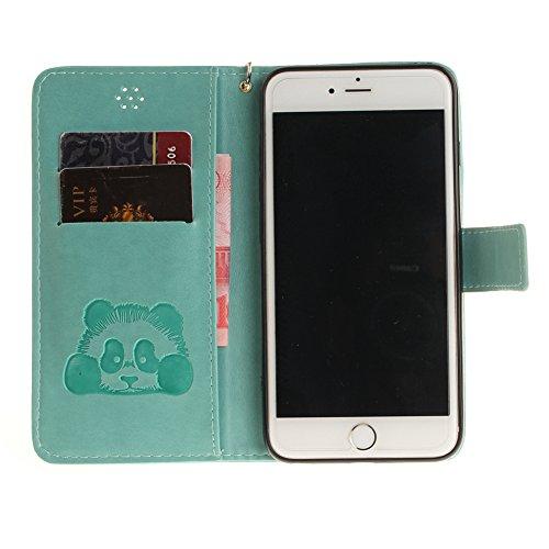 Cover per iPhone 6/6S 3D Panda Disegni,Girlyard Custodia in Pelle Portafoglio Libro Flip Cover Bianco Colorata Carino Kawaii Design Coperture per Apple iPhone 6S/6 4.7 Antiurto Antipolvere Cover + Mo Verde