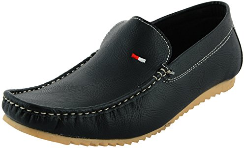 LeatherKraft Men's Black Shearling Loafers - 6 UK (LKLFBLK_6)