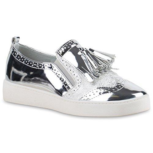 Stiefelparadies Damen Slipper Lack Plateau Loafers Metallic Loafer Flats Glitzer Slippers Quasten Lochung Schuhe 136539 Silber Metallic 40 Flandell