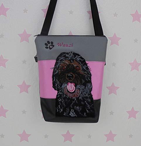 pinkeSterne ☆ Handtasche CAVAPOO Schultertasche Handmade Bestickt Pudel Spaniel Hund