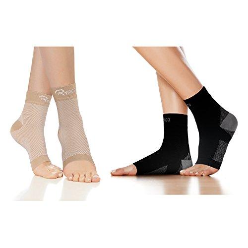 RYACO Kompressionsstrümpfe für Damen Herren Sport Medizinisch, Plantarfasciitis und Fußgelenk Bandage/Fersensporn Bandagen/Fersensporn Socken für effektive Kompression beim Laufen & Trainieren (S-M, Schwarz & Beige)