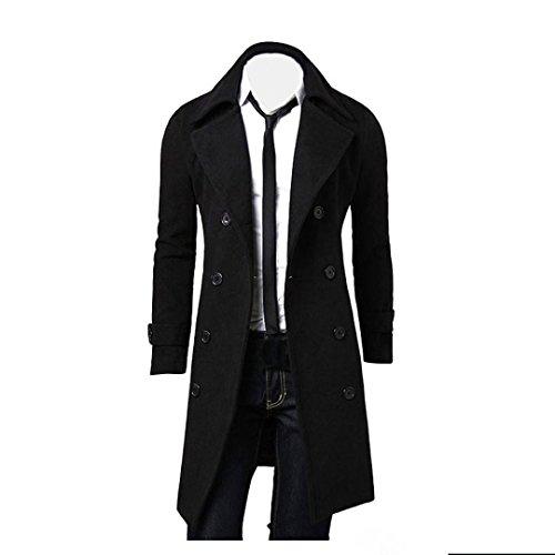 Tonsee® Hommes Hiver Slim élégant Trench Coat Double Breasted Longue Veste Parka