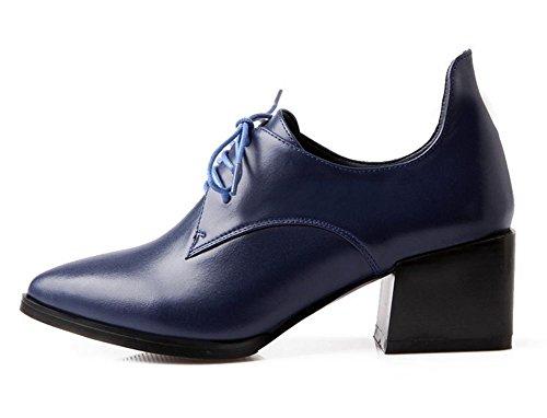 New Spring scarpe da donna nel primo strato di pelle con punta scarpe in pizzo Blue