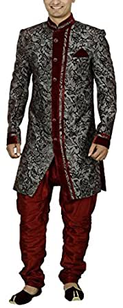 Sargam Nx Men's Linen Sherwani (Grey and Maroon, 38)