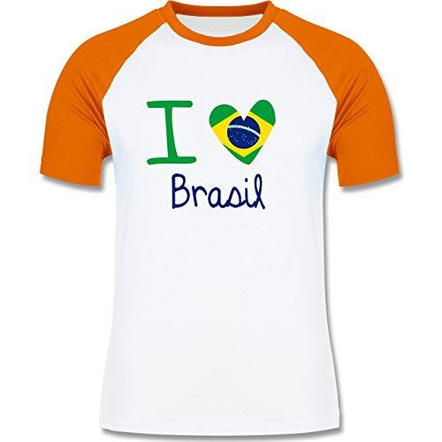 Länder - I love Brasil - zweifarbiges Baseballshirt für Männer Weiß/Orange
