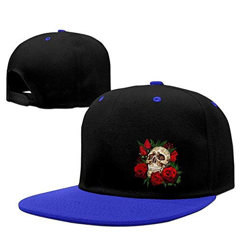 Multi Color Knit Skull Cap (LLALUA Evil Witch Ghost Skull and Red Rose Flower Snapback Hip Hop Hat Dad Cap)