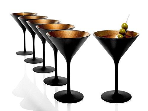 Stölzle Lausitz Olympic Cocktailgläser 240 ml, 6er Set, Cocktailkelch in schwarz (matt) und bronze, spülmaschinenfest, bleifreies Kristallglas, hochwertige Qualität