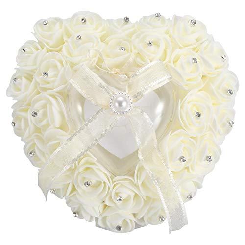 Duokon Romantische herzförmige Ehering Box Rose Strass Decor Ringkissen Kissen für Ring Case Ring Bearer(Beige)