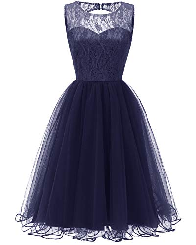 Viloree Damen Spitze Tutu Brautjungfern Abend Cocktail festlich Knielang Kleid Navy XL