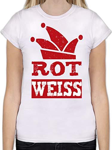 Karneval & Fasching - Rot Weiss Köln - L - Weiß - L191 - Tailliertes Tshirt für Damen und Frauen T-Shirt