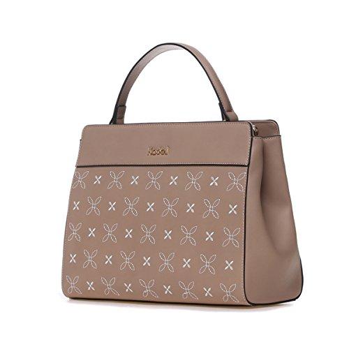 559fb3641e7dc Kadell Frauen Elegante PU-Leder Handtaschen Schulter tasche Stickerei Blume  Geldbörse für Damen Khaki Khaki