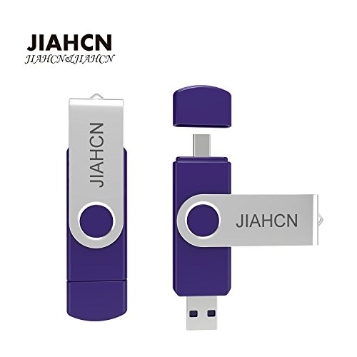 JIAHCN XC60 Android Flash Drive [On the Go] 2 in 1 USB Memory Stick Storage Device Hard Disk 16GB 32GB Available for Android Smart Phone or Device Support OTG (Purple-32GB)
