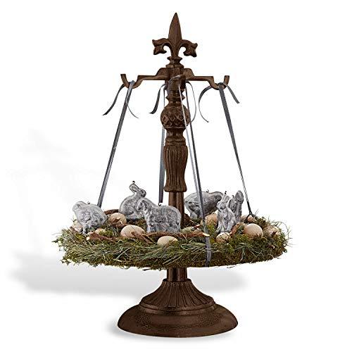 Loberon Adventskranzständer Antwany, Weihnachtsdeko, Gusseisen, H/Ø ca. 59/24,5 cm, antikbraun