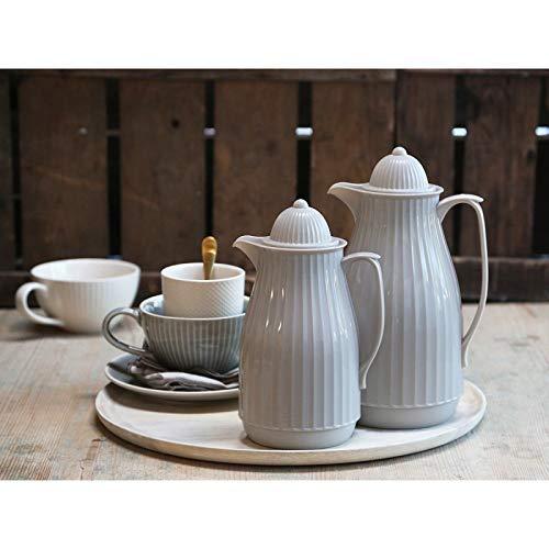 Chic Antique ° Thermoskanne ° Isolierkanne Romantik Landhaus Creme ° (Thermoskanne- Groß 1,0L) (Mocca, 1 L)