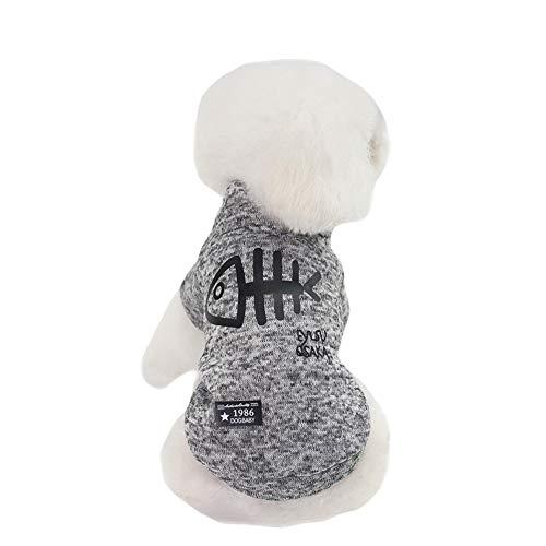 GLZKA Haustier Kostüm für Hund Sweatshirt Fischgräte Zweibeinige Kleidung Baumwolle Mode Warme Dicke Heimtierbedarf Herbst und Winter, Grau,XL (Baumwolle Fischgräten-kleid)
