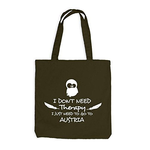 Jutebeutel - Need Therapy - Just Go to Austria Travel Holidays Olive