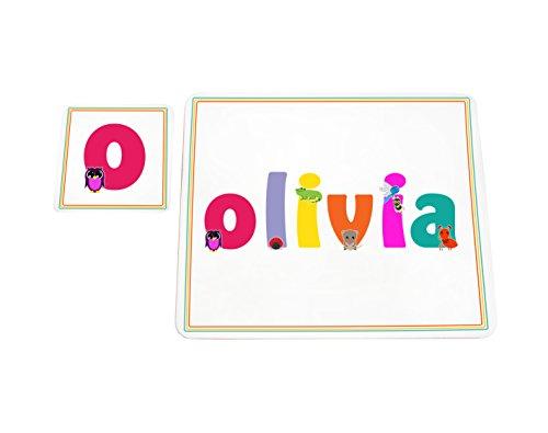 Feel Good Art brillante Mantel individual y posavasos para bebés y niños, diseño con ilustraciones y personalizada con nombre de niña (Olivia)