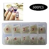 JUN-H 500 STÜCKE Acryl Gefälschte Nägel Kits Fake Nails Halbe Abdeckung Natürliche Farbe Transluzent DIY Nagelspitzen Nagelstudios und DIY Nail Art für Frauen Mädchen