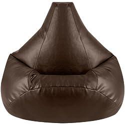 Hi-BagZ® - Sillón tipo puf (especial para jugar videojuegos, piel sintética), color marrón