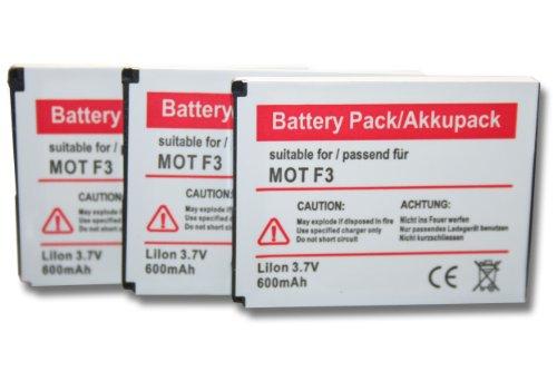 3 x batteria vhbw 600mAh per telefono fisso cordless Motorola Motofone F3, AVM Fritz! Fone MT-F, M2 come 312BAT006, 100402