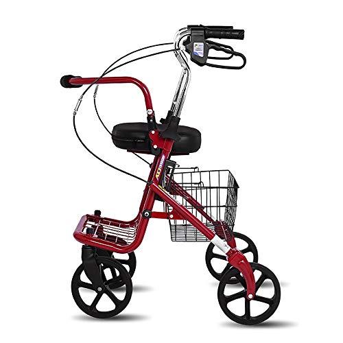 Faltender Vierrädriger Walker-justierbare Höhe Mit Sitz Und Korb Für Die Älteren Einkaufen Aluminium Gehender Rahmenpedalwanderer-Trolley