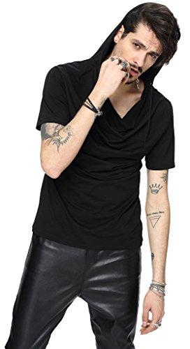 Pizoff Herren Urban Basic Kurz Arm T-shirt mit Kapuze aus weiches Matrial B025-Black