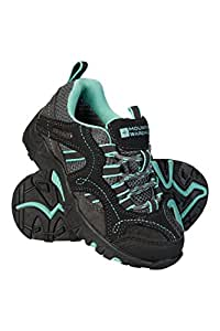 Mountain Warehouse Stampede Kids Walking Shoes - High Traction Sole Running Shoes, Waterproof Rain Shoes, Suede & Mesh Upper Childrens Summer Shoes – for Boys & Girls Mint 4 Child UK