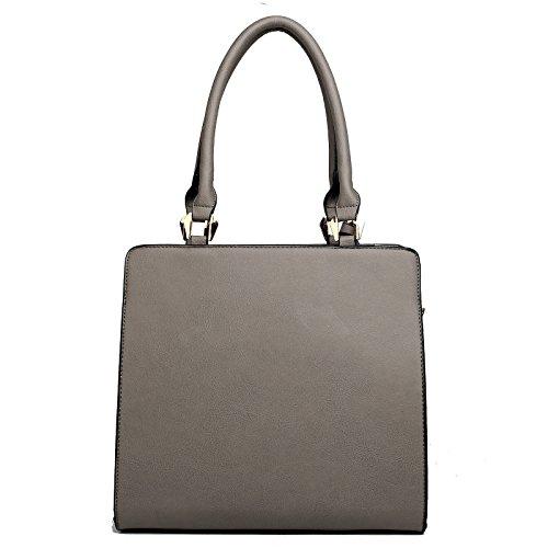 Borsa portaoggetti a tracolla da donna, in pelle, elegante oggetto di design nello stile delle celebrità grigio