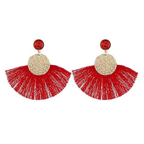 Thumby Mode Übertrieben Rattan Gewebt Quaste Ohrringe Böhmischen Einfachen Temperament Ohrringe, rot -