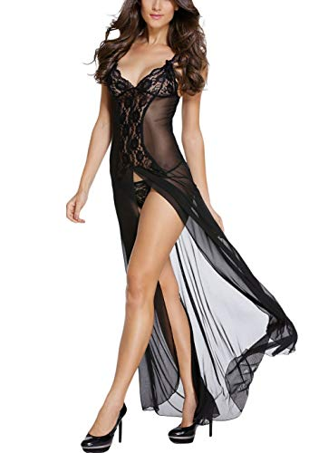 Innerribbons Hello Pretty Women\'s Net Mesh Bridal Long Babydoll Gown with G String (Black, Free Size)