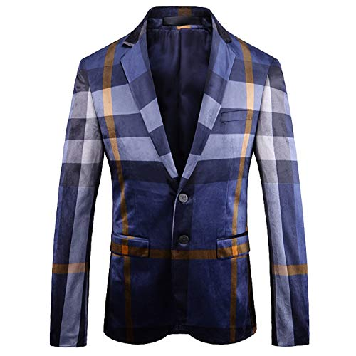Legogo Herren High-end Digitales Britischer Wind Drucken Custom Fit Freizeit und Mode Anzug Jacke Blazer (XL,floral) -