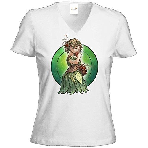 getshirts - Das Schwarze Auge - T-Shirt Damen V-Neck - Götter - Peraine - Chibi Weiß