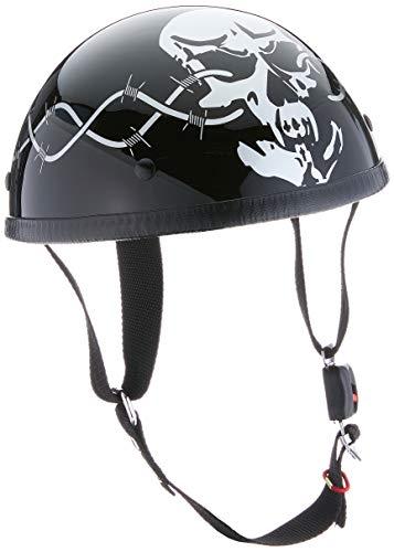 Nerve Hld Oldtimer NH201 Motorrad Mofa Chopper Helm Halbschale Halbhelm Herren Damen Erwachsene (ohne ECE), Schwarz-Totenkopf, Größe XXL-2XL