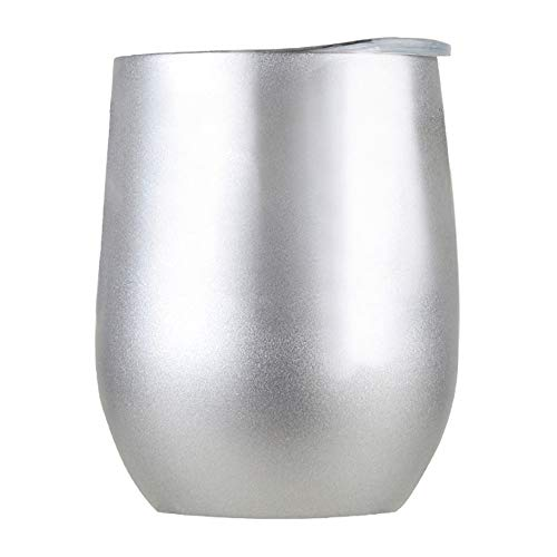 Jaminy Doppel-Isolierte Stemless Weinglas, Edelstahl Becher mit Deckel für Wein Wasser Kaffee Getränke Champagner Cocktail - 250ml (E) - Farbige Multi Weingläser