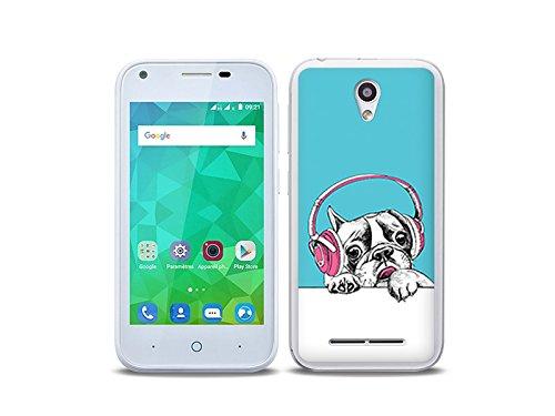etuo Handyhülle für ZTE Blade L110 - Hülle Fantastic Case - Hund mit Kopfhörern - Handyhülle Schutzhülle Etui Case Cover Tasche für Handy