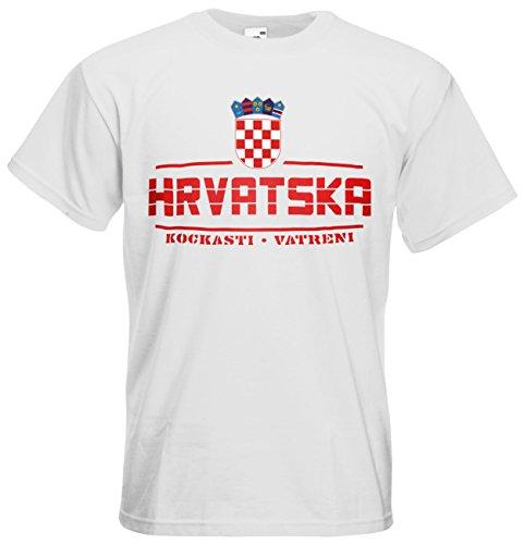 Kroatien Hrvatska Fanshirt T-Shirt Länder-Shirt im modernen Look Weiß