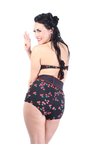 40s Retro Cherry pin up Kirschen Polka Dots Rockabilly High Waist Bikini Schwarz