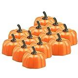 BestFire 12 Pcs arancione Tealight zucca 3D Halloween candela senza fiamma a lume di candela LED a batteria a LED, set regalo, bianco caldo sfarfallio