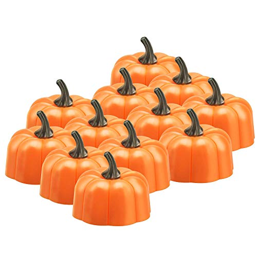 BestFire 12 Orange Kürbis Teelichter 3D Kürbis Flammenlose Kerzenlicht Batteriebetriebene LED Teelichter für Halloween Weihnachten Festival Hochzeit Thema Party, Geschenk-Set, Warmes Weiß Flackern