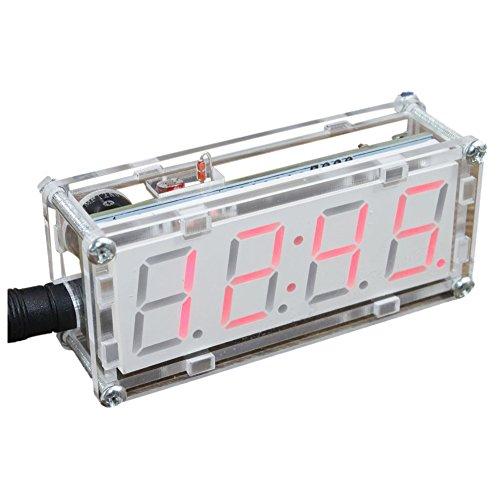 SODIAL(R) 4-stellige DIY LED elektronische Uhr Installationssatz Mini Regler 0.8 Zoll Digital Schlauch Taktgeber mit Thermometer stuendliches Glockenspiel Funktion DIY Installationssatz Modul rot
