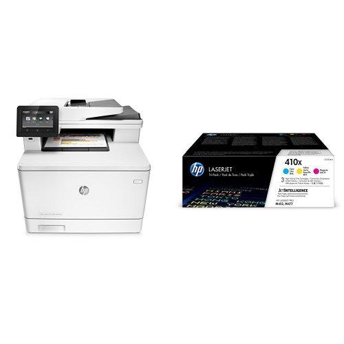 HP Color LaserJet Pro M477fnw Farblaserdrucker Multifunktionsgerät (Drucker, Scanner, Kopierer, Fax, WLAN, LAN, ePrint, Airpint, USB, 600 x 600 dpi) weiß mit passenden Original Tonern
