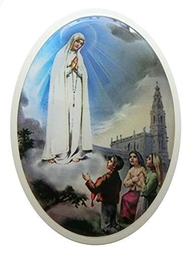 GTBITALY - Portarretratos de plástico Ovalado con Imagen de la Virgen de Fátima Blanca