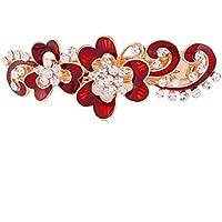sourcing map Frauen Metall Blume Design Faux Strass Frisur Kopfbedeckung Haarspange Klipp Rot DE