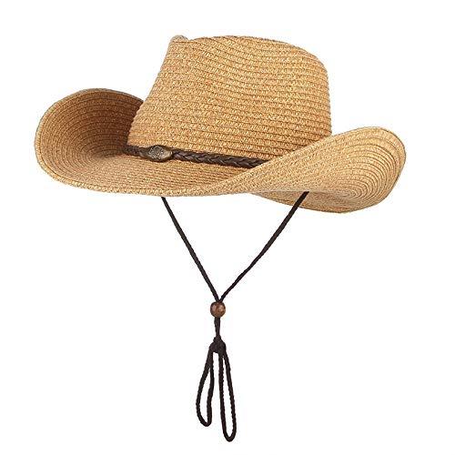 LIWEIL Westlichen Cowboy Sonnenhut Wind Lanyard Für Männer Frauen Breiter Krempe Strohhut Strandmütze Panama Angeln Fischer Kappe Sommer Hüte